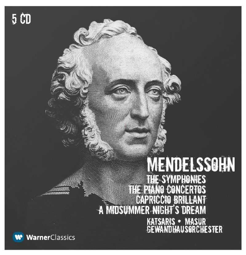 Masur: Mendelssohn - The Symphonies, The Piano Concertos, Capriccio Brilliant, A Midsummer Night's Dream (5 CD box set, FLAC)