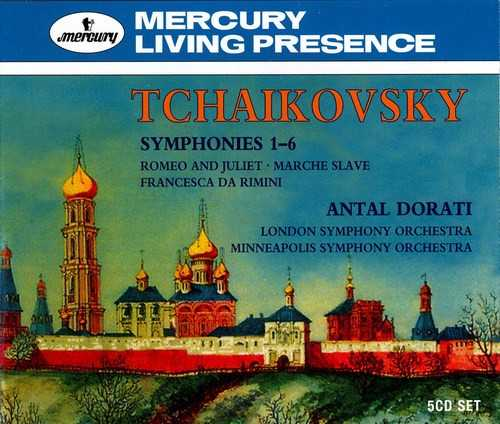 Dorati: Tchaikovsky - Symphonies 1-6, Romeo and Juliet, Francesca da Rimini, Eugene Onegin, Slavonic March (5 CD box set, APE)