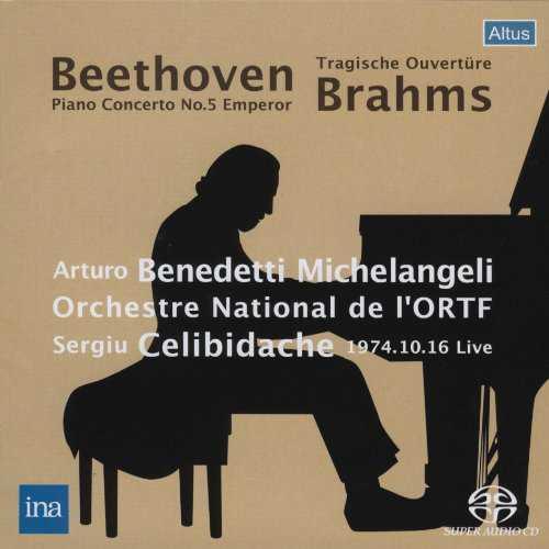 Benedetti Michelangeli, Celibidache: Brahms - Tragische Ouvertüre, Beethoven - Piano Concerto no.5 1974 Live (SACD)