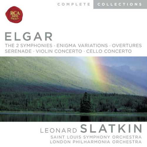 Slatkin: Elgar - The 2 Symphonies, Enigma Variations, Overtures, Serenade, Violin Concerto, Cello Concerto (FLAC)