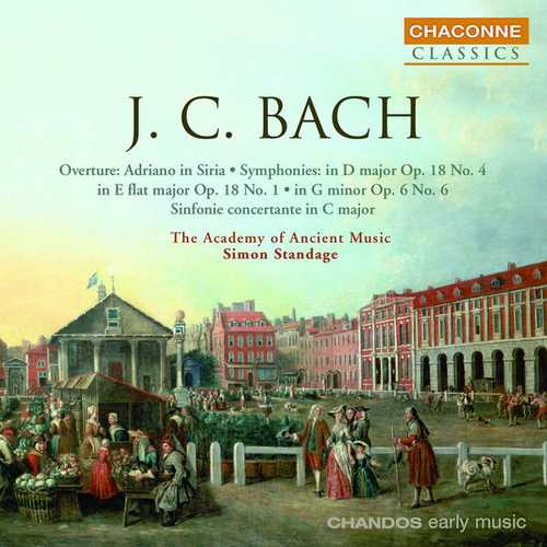 Standage: J.C. Bach - Overture: Adriano in Siria, Symphonies (FLAC)